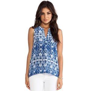 Joie Blue Aruna Silk Ikat Sleeveless Blouse